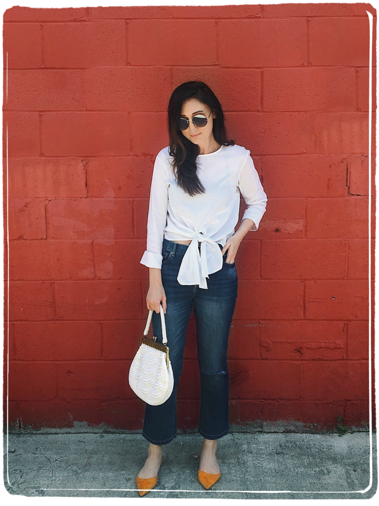 wiw cropped denim and white blouse