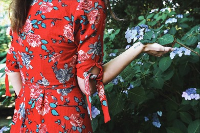 red floral dress style